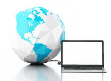 globo do portátil 3d e da terra Cumprimentos através do mundo Imagens de Stock Royalty Free