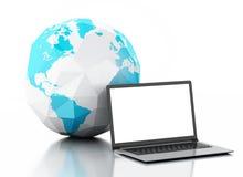 globo do portátil 3d e da terra Cumprimentos através do mundo Foto de Stock