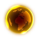 Globo dorato con luce al neon gialla intorno Immagini Stock