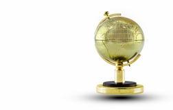 Globo dorato isolato su priorità bassa bianca Fotografia Stock Libera da Diritti
