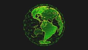 Globo dos dados da terra de Digitas - sum?rio 3D que rende a conex?o de rede video do starlink dos sat?lites o mundo sat?lites ilustração do vetor