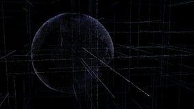 Globo dos dados de Digitas - ilustração abstrata da terra de cerco científica do planeta da rede de dados da tecnologia que trans ilustração do vetor
