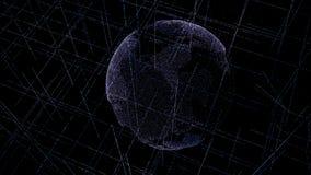 Globo dos dados de Digitas - ilustração abstrata da terra de cerco científica do planeta da rede de dados da tecnologia que trans fotografia de stock royalty free