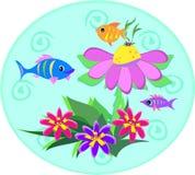 Globo dos peixes com espirais e plantas Imagens de Stock Royalty Free