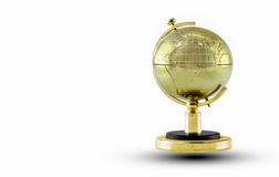 Globo dourado isolado no fundo branco Fotografia de Stock Royalty Free