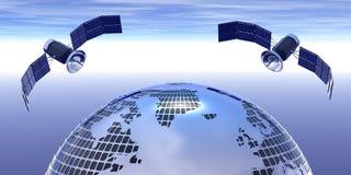 Globo e 2 satelliti sul cielo Fotografie Stock Libere da Diritti