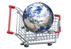Globo e carrinho de compras da vista superior com trajeto de grampeamento Fotografia de Stock