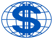 Globo e dólar Imagem de Stock Royalty Free