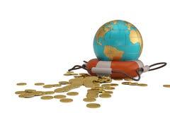 Globo e de boia e de ouro de vida moedas no fundo branco illus 3d ilustração stock