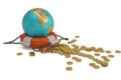 Globo e de boia e de ouro de vida moedas no fundo branco illus 3d ilustração royalty free