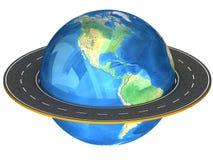 Globo e estradas em torno dele. Foto de Stock Royalty Free