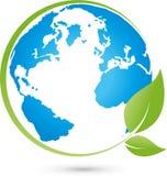 Globo e folhas da terra, terra e logotipo da ecologia ilustração royalty free