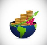 Globo e ilustração do gráfico da moeda do negócio Imagem de Stock Royalty Free
