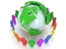 Globo e la gente del pianeta della terra. 3D rendono. Immagini Stock Libere da Diritti