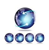 Globo e mapa do mundo Imagens de Stock Royalty Free