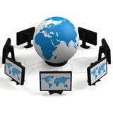 Globo e monitores Imagens de Stock Royalty Free