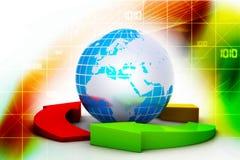 Globo e multi frecce di colore Immagine Stock