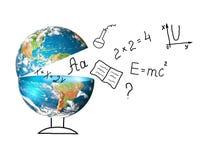 Globo e símbolos da escola Conceito educacional Ilustração 3d do conceito educacional De volta ao conceito da escola Fotos de Stock Royalty Free