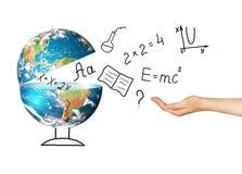 Globo e símbolos da escola Conceito educacional Ilustração 3d do conceito educacional De volta ao conceito da escola Fotografia de Stock