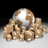 Globo e scatole di cartone Fotografie Stock