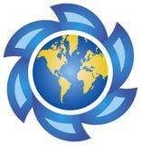 Globo e setas azuis Imagens de Stock Royalty Free