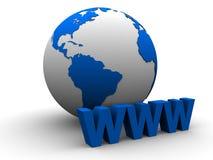 Globo e sinal de WWW ilustração royalty free