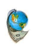 Globo e soldi americani Fotografie Stock Libere da Diritti