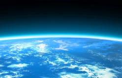 Globo e spazio blu-chiaro del mondo Immagine Stock