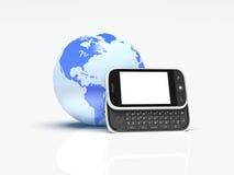 Globo e telefone móvel no branco. 3d Imagem de Stock