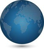Globo e terra, globo feito dos pontos, fundo da tecnologia, globo do mapa do mundo ilustração royalty free