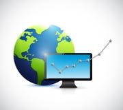 Globo e una progettazione dell'illustrazione di affari di computer Immagine Stock Libera da Diritti