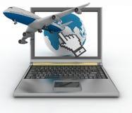 Globo ed aereo che decollano dal computer portatile Fotografia Stock Libera da Diritti