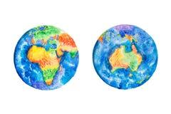 Globo Ejemplo de la acuarela de los continentes de la tierra África y de Australia del planeta Foto de archivo libre de regalías