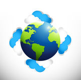 Globo em torno das nuvens Projeto da ilustração Fotos de Stock