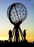 Globo en el cabo del norte/Nordkapp imagen de archivo