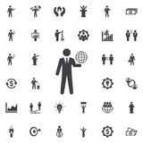 Globo en el icono de la mano ilustración del vector