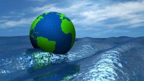 Globo en el océano stock de ilustración