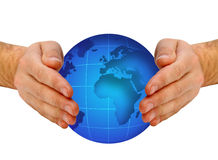 Globo en manos humanas Imagen de archivo libre de regalías