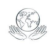 Globo en manos, logotipo Día de la Tierra, protección de la naturaleza, icono del mundo o símbolo Ilustración del vector ilustración del vector