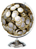 Globo euro del dinero aislado en el fondo blanco Imagenes de archivo