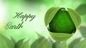 Globo feliz del Día de la Tierra debajo de las hojas 4K metrajes