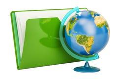 Globo geográfico de la tierra del planeta, representación 3D ilustración del vector
