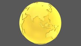 globo girante dell'oro della terra dorata 3D illustrazione di stock