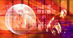 Globo girante sul fondo futuristico di tecnologia illustrazione vettoriale