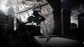 Globo giratorio con los billetes de d?lar stock de ilustración