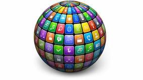 Globo giratorio con los iconos del color almacen de video