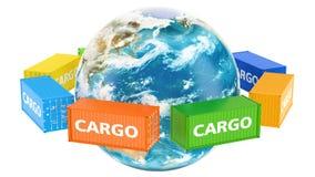 Globo giratorio de la tierra con los contenedores para mercancías Concepto global del envío de cargo, representación 3D ilustración del vector