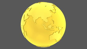 globo giratorio del oro de la tierra de oro 3D almacen de video