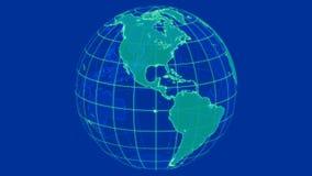 Globo giratorio del planeta 3D de la tierra que brilla intensamente metrajes