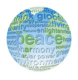 Globo global y del eco de la paz de la palabra de la nube Fotos de archivo
